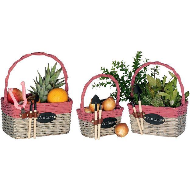 Corbeilles de jardin avec outils, set de 3