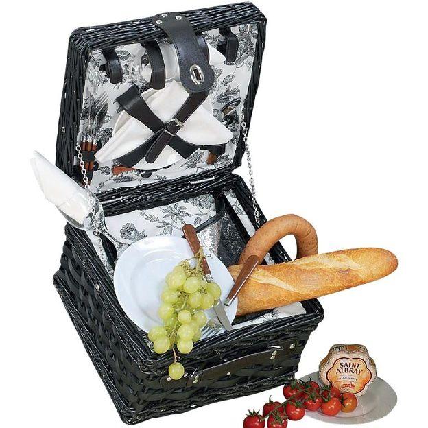 Picknickkorb Dorset schwarz inkl. Kühltasche für 2 Personen