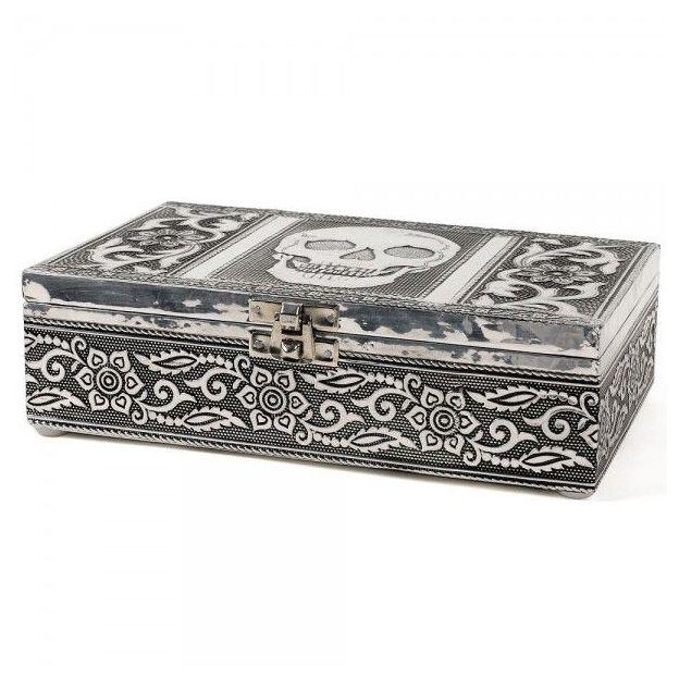 Schmuckbox Schatulle silber mit Totenkopf