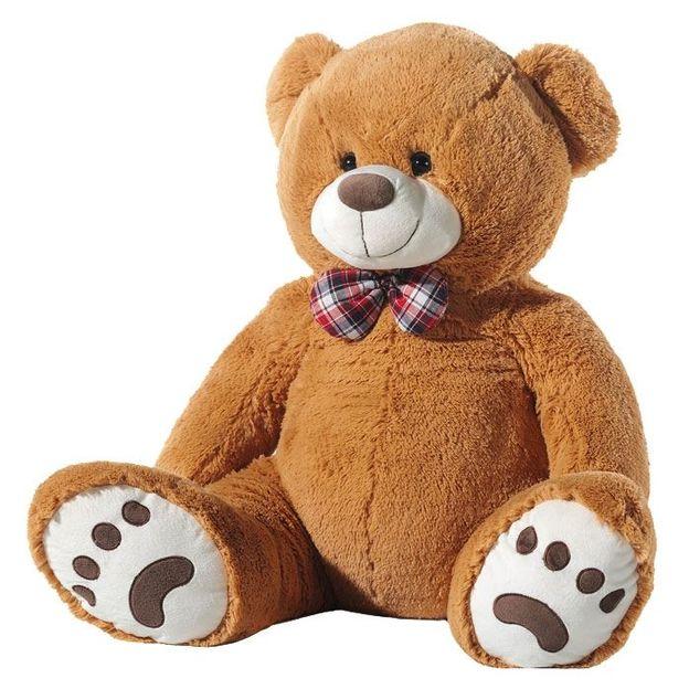 Riesen Teddybär XXL mit Masche hellbraun 100cm