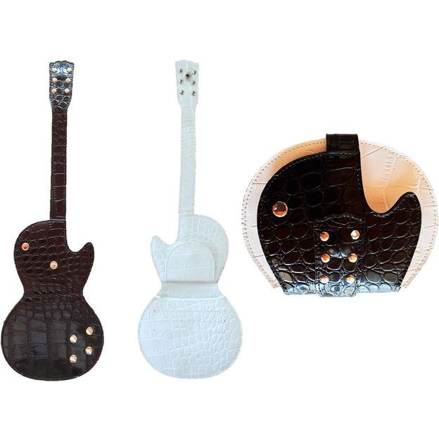 Porte-monnaie en forme de guitare électrique noir-blanc