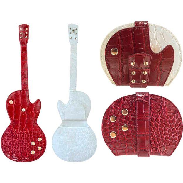 Porte-monnaie en forme de guitare électrique rouge-blanc