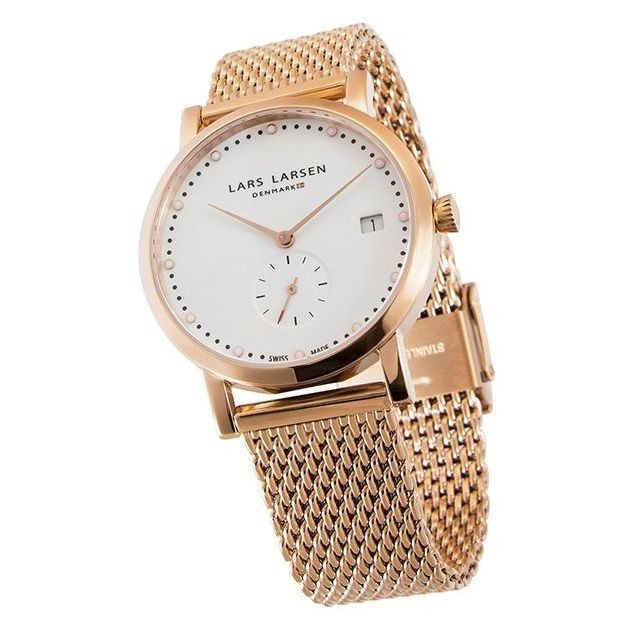 Lars Larsen Damenuhr White Rose Gold Mesh 35mm