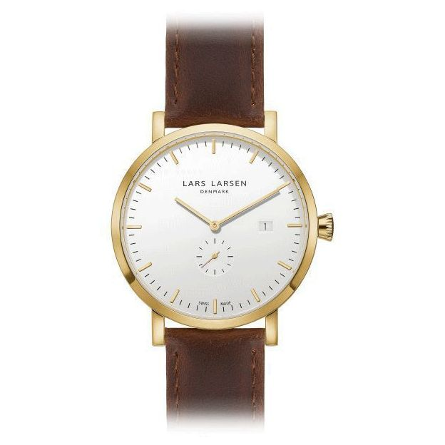 Lars Larsen Herrenuhr White Brown Leather