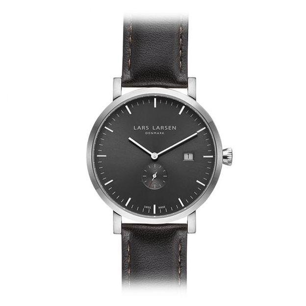 Lars Larsen Herrenuhr Grey Black Oak Leather