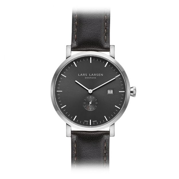 Lars Larsen Herrenuhr Grey Black Oak Leather