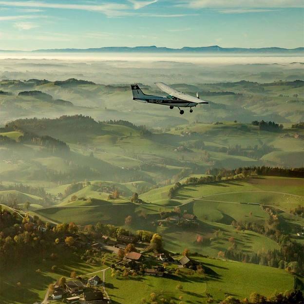 Flugzeugflug über Luzern und den Titlis
