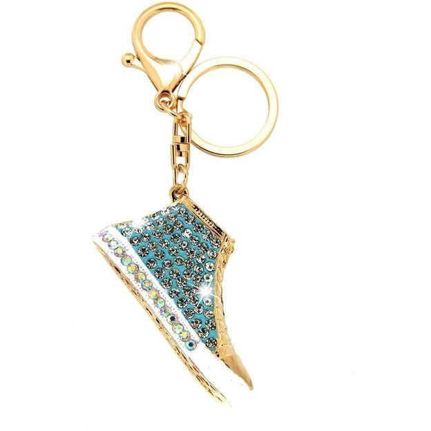 Schlüsselanhänger Sneakers gold/blau/crystal