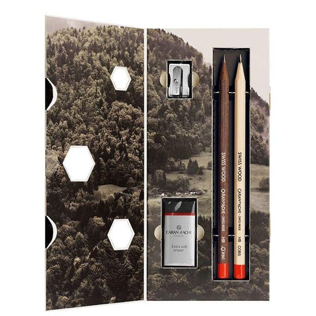 Caran d'Ache Bleistift Set Swiss Wood mit Gummi und Spitzer