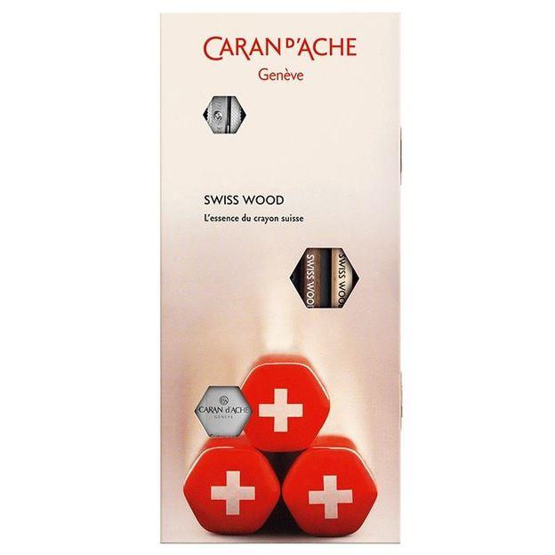 Caran d'Ache set Swiss Wood avec crayons graphite et accessoires
