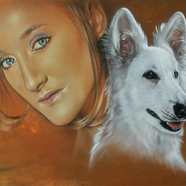 Zweier- und Paar Airbrush-Portrait