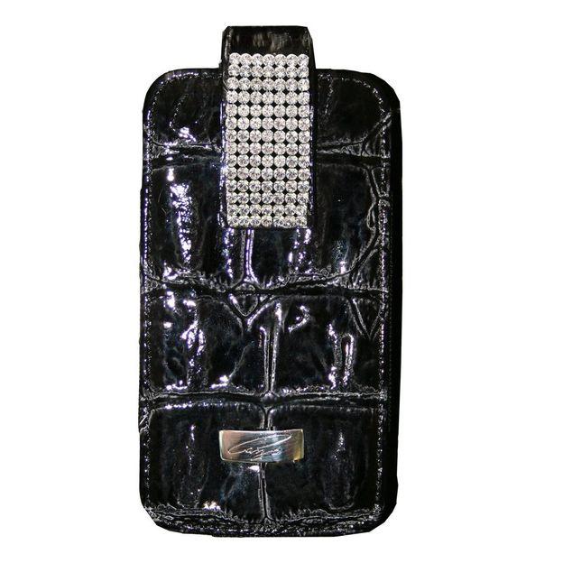 Etui iphone cuir et cristaux Swarovski