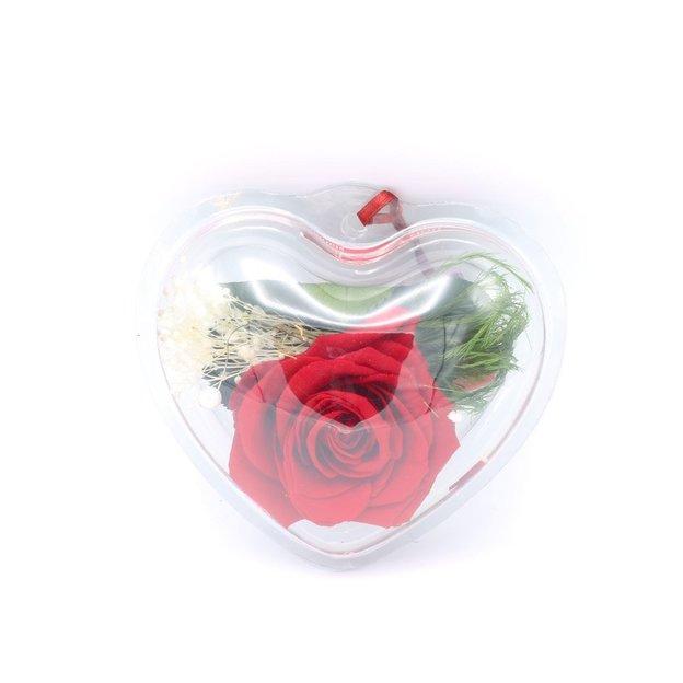 Rose à vie dans boîte coeur