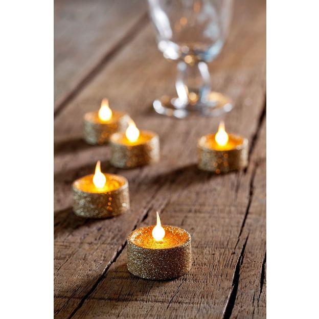 Set de 6 bougies chauffe-plat pailletées à LED