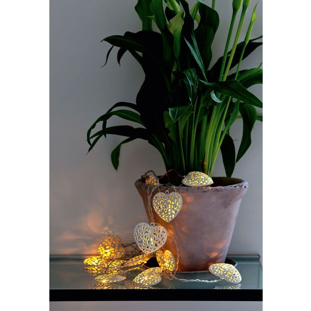 Guirlande lumineuse Emily Coeurs blancs / cuivre