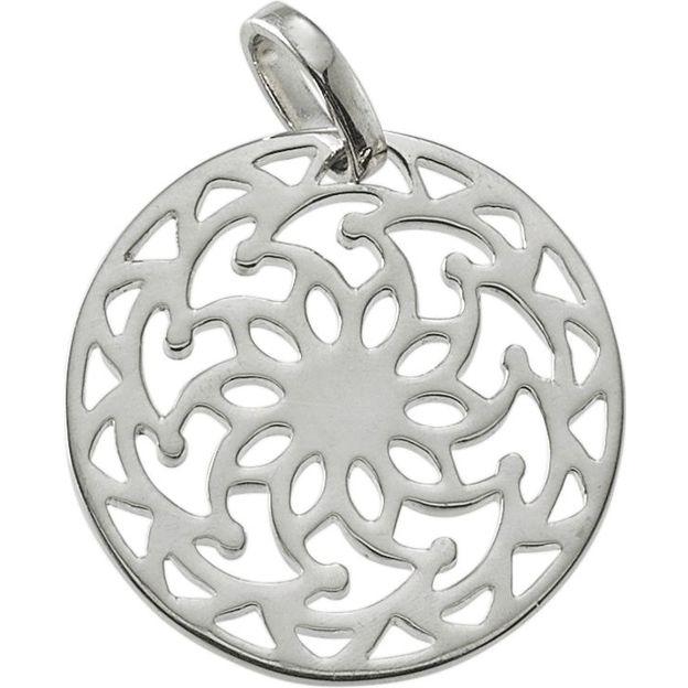 Little Mandala Sun Silver Charm