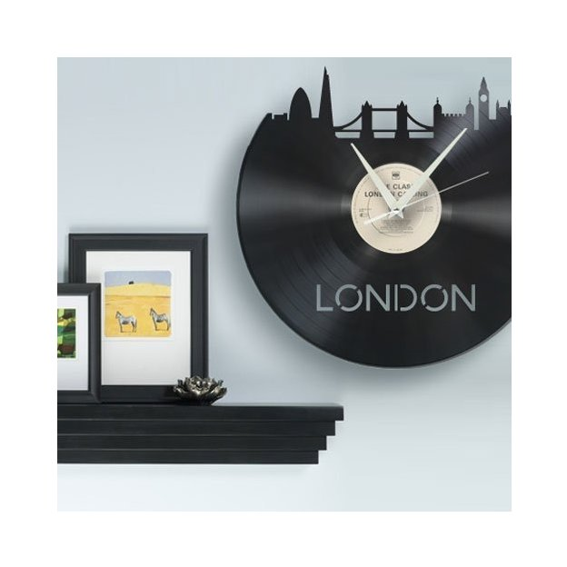 Horloge murale vinyl city new york for Horloge murale new york