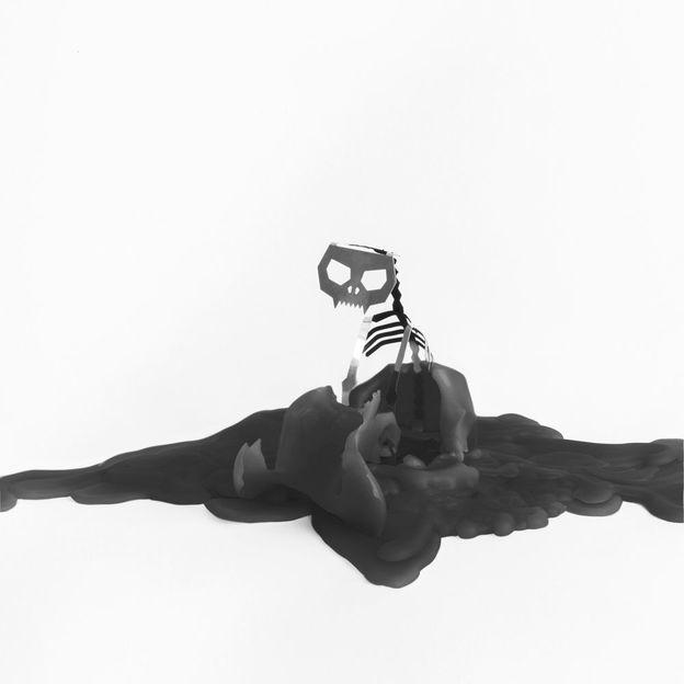Pyropet Kerze Katze Kisa mit Skelett