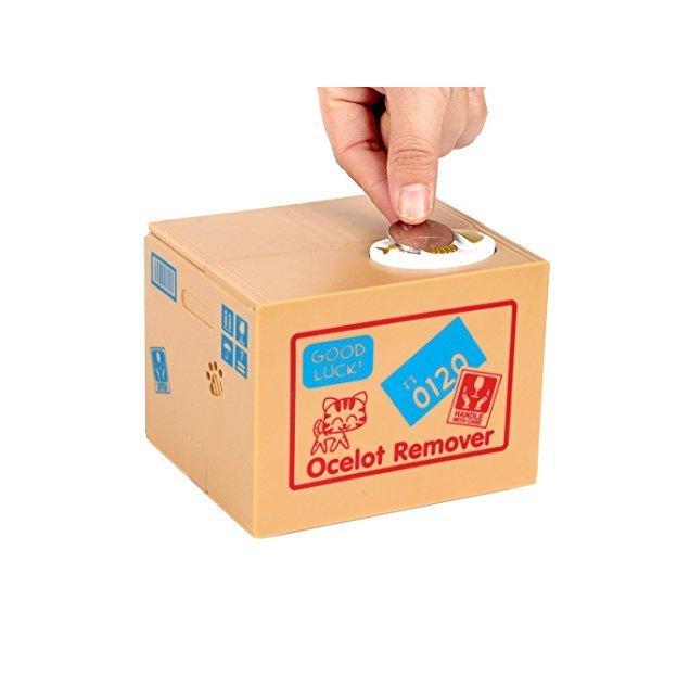 Spardose Katze im Karton