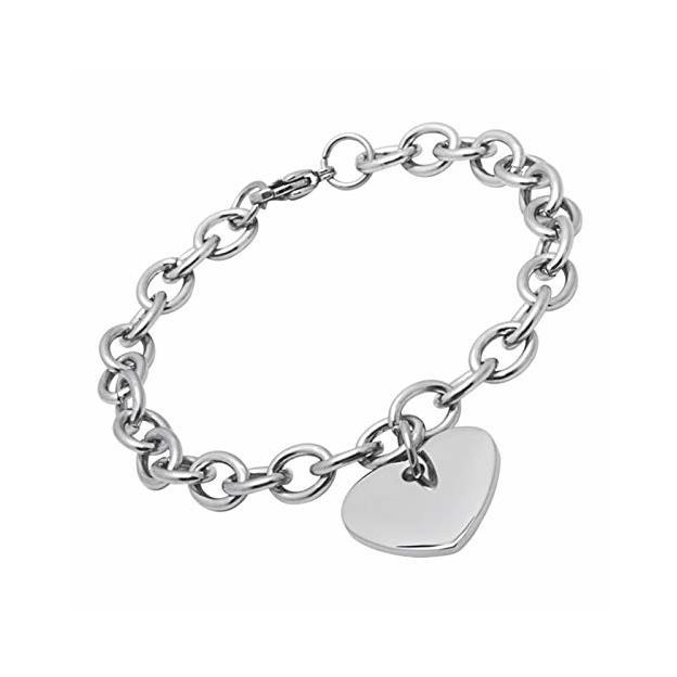 Bracelet avec coeur personnalisable argenté