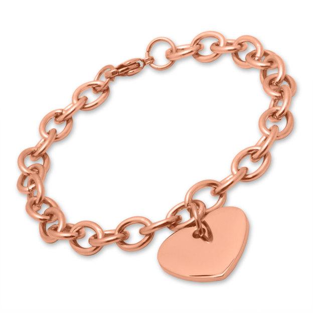 Personalisierbares Armband mit Herzanhänger Edelstahl rosévergoldet