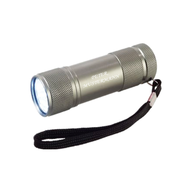 Personalisierbare LED Taschenlampe silber