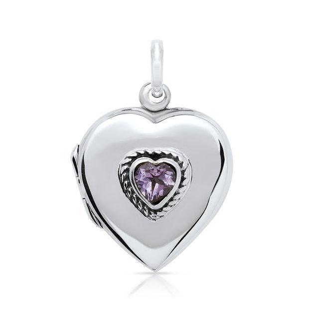 Pendentif médaillon coeur avec Améthyste