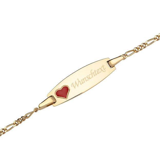 Personalisierbares Armband 375 Gelbgold mit Herzmotiv für Kinder 12cm