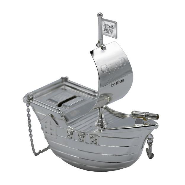 Tirelire bateau pirate argent personnalisable