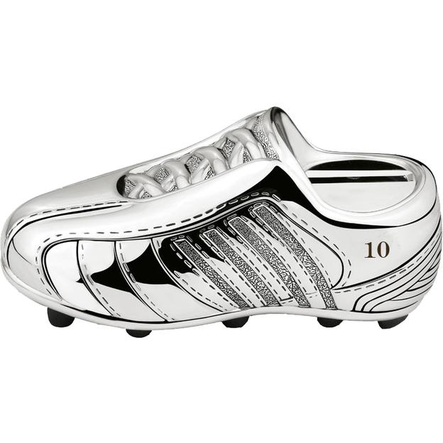 Tirelire chaussure de foot plaquée argent personnalisable