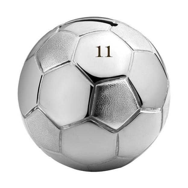 Personalisierbare Zilverstad Spardose Fussball