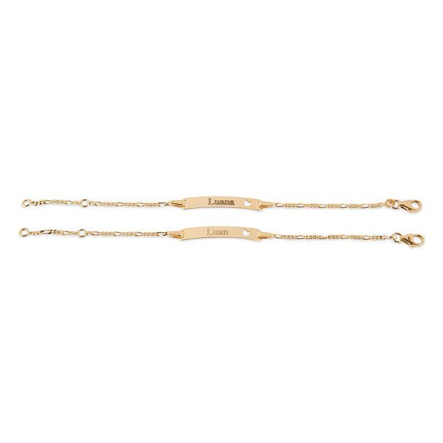 Personalisierbares Armband 375 Gold mit Herzmotiv für Kinder 12cm