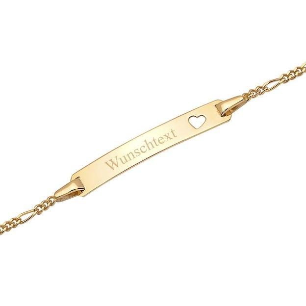 Personalisierbares Armband 375 Gold mit Herzmotiv für Kinder 14cm