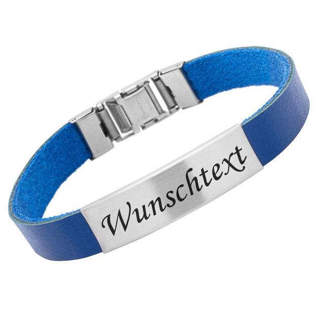 Personalisierbares Armband Kautschuk 1cm Blau
