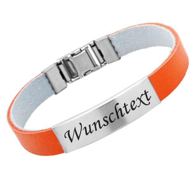Personalisierbares Armband Kautschuk 1cm Orange