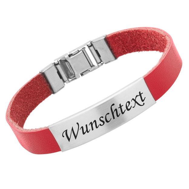 Personalisierbares Armband Kautschuk 1cm Rot
