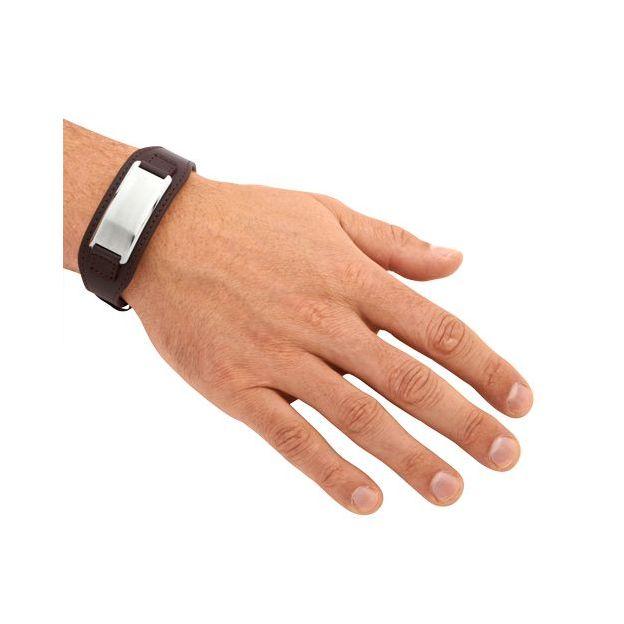 Bracelet de cuir personnalisable brun