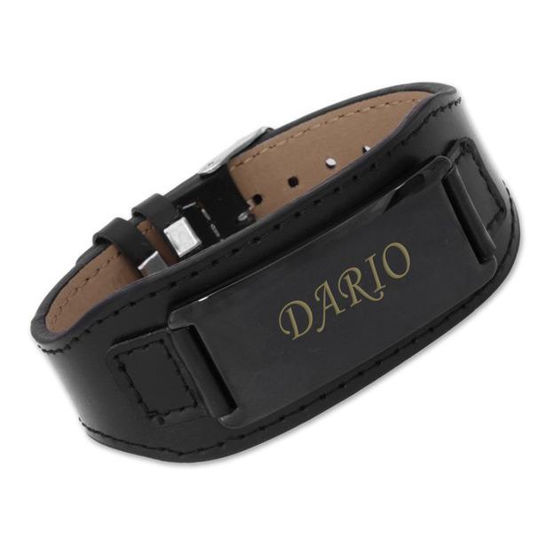 Bracelet de cuir personnalisable noir