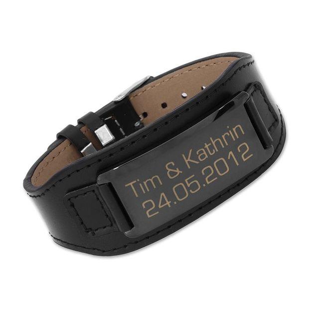 Personalisierbares Armband Leder schwarz