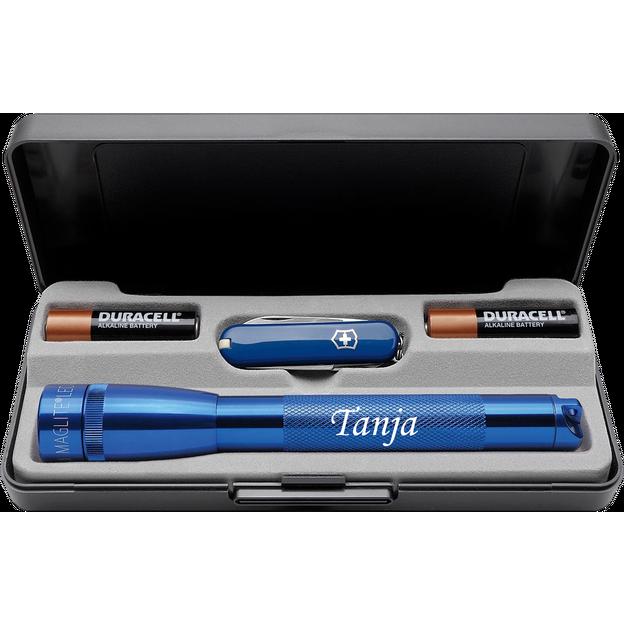 Personalisierbares LED Mini Maglite Set mit Victorinox Classic Messer blau
