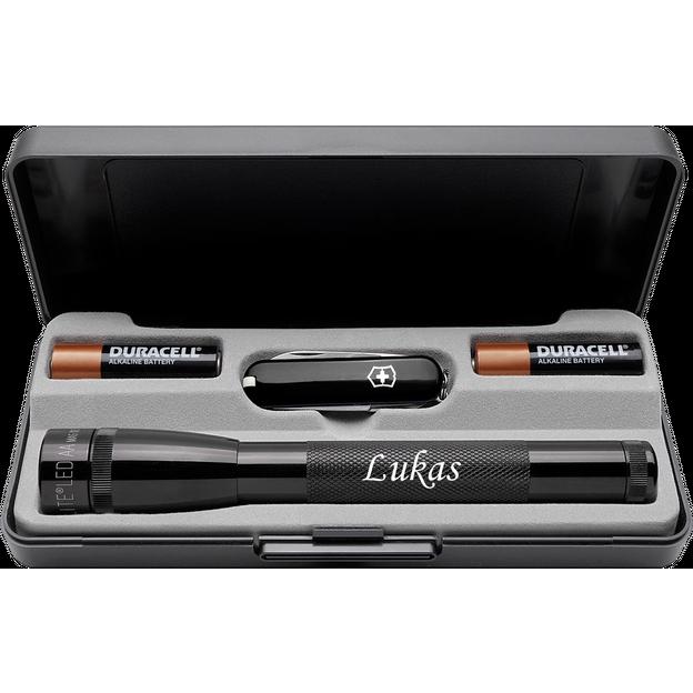 Personalisierbares LED Mini Maglite Set mit Victorinox Classic Messer schwarz