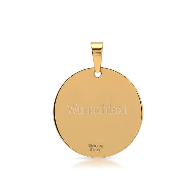Pendentif rond zirconium personnalisable doré