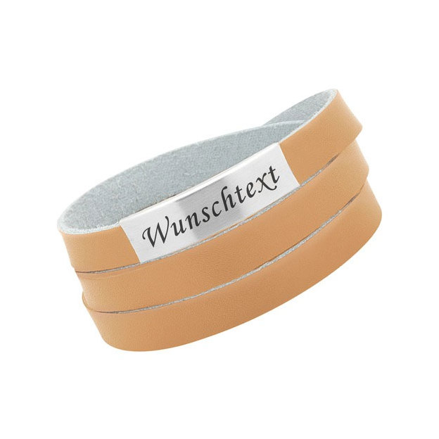Bracelet cuir personnalisable large Sandfarbe