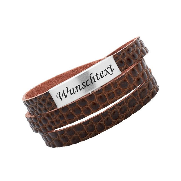 Bracelet cuir personnalisable large croco