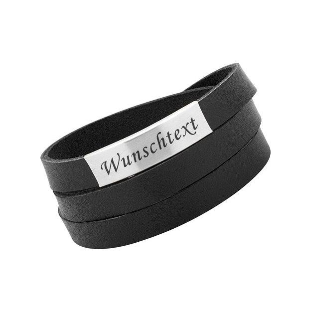 Bracelet cuir personnalisable large noir