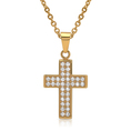 Personalisierbarer Anhänger Edelstahl Kreuz vergoldet