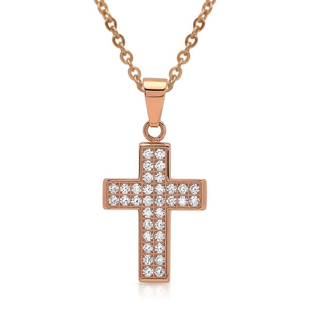 Personalisierbarer Anhänger Edelstahl Kreuz rosévergoldet