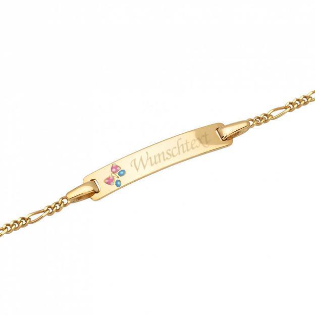 Personalisierbares Armband 375 Gold mit Schmetterlingsmotiv für Kinder 14cm