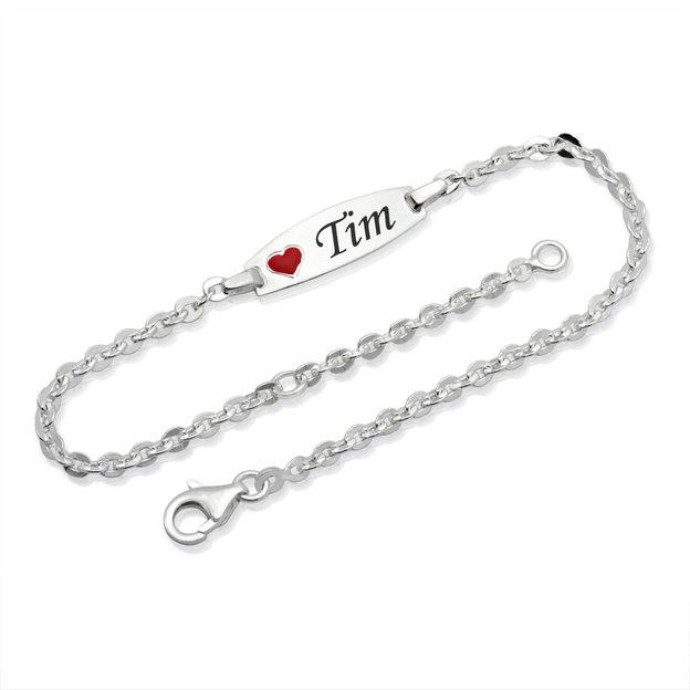 Personalisierbares Armband 925 Silber mit Herz für Kinder 14cm