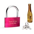 Personalisierbares Liebesschloss pink mit Gold Cüpli piccolo